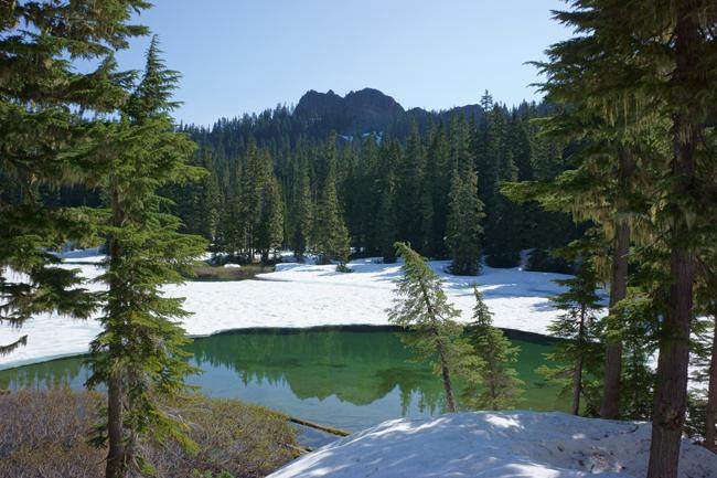 Christine Lake, with snow