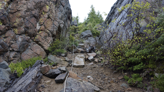 Steep section with rope