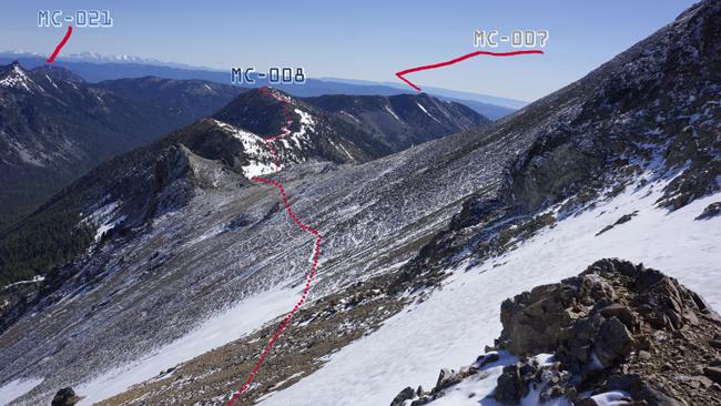 Crossing steep rock field