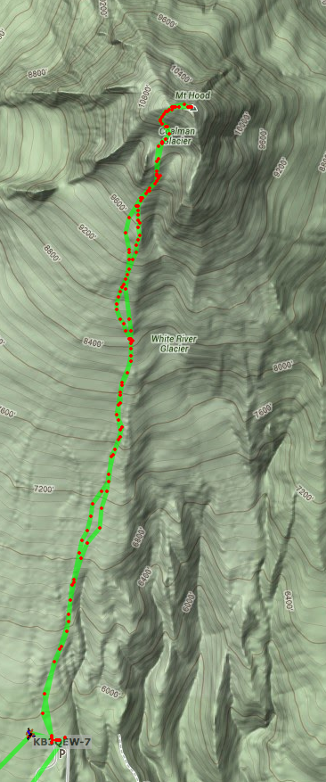 Screenshot of APRS.fi showing KB3QEW tracks from Timberline Lodge to Mount Hood summit and back.