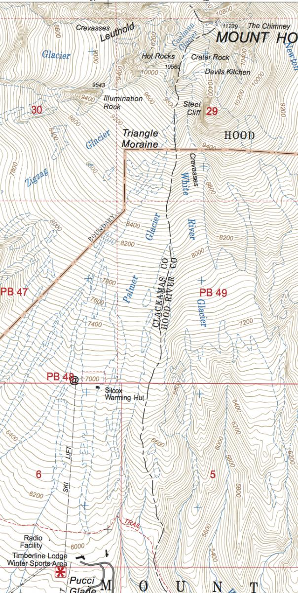 Detail of Forest Service topo map 451512137 showing Timberline Lodge and Mount Hood summit.