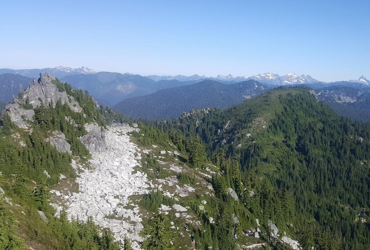 West summit with Mt McCausland on the right