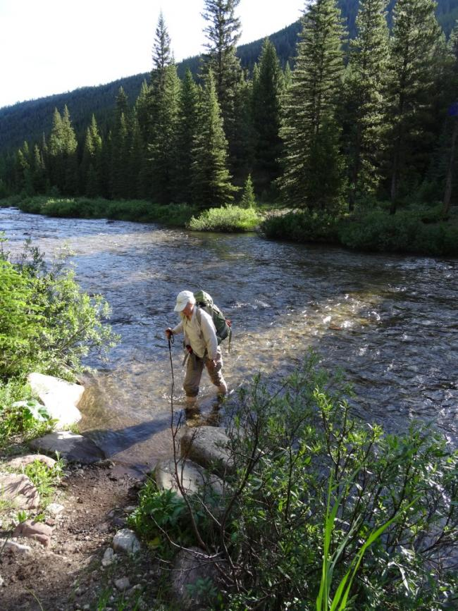 Crossing Straight Creek in late June during a low snowpack year