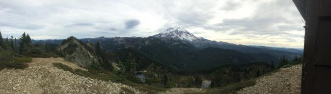 Panographic shot of Rainier from Tolmie Peak