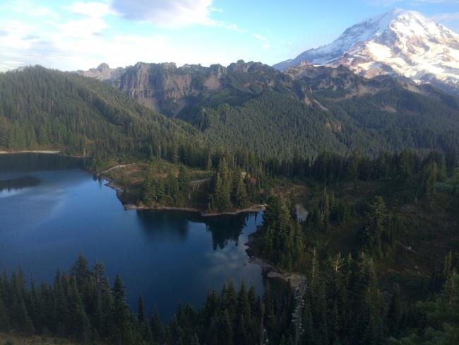 From Tolmie Peak looking at Lake Euclid and Mount Rainier