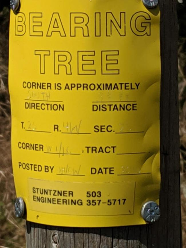 A bearing tree marker indicating the section boundary