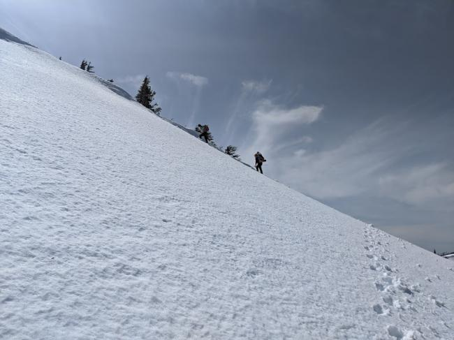 Ascending the north face of the ridge, headed down the mountain