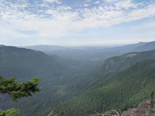 The ridge, and the false summit at 4100', have the best views