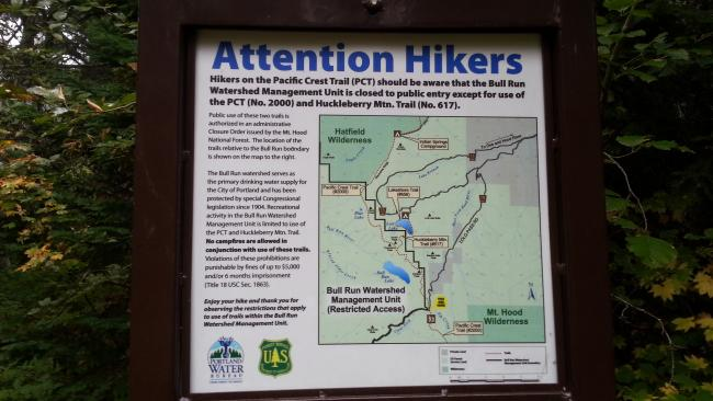 Notice regarding traversing the Bull Run Watershed on the PCT