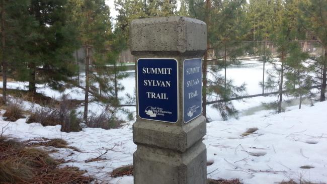 Marker for Sylvan-Summit Park connector trail