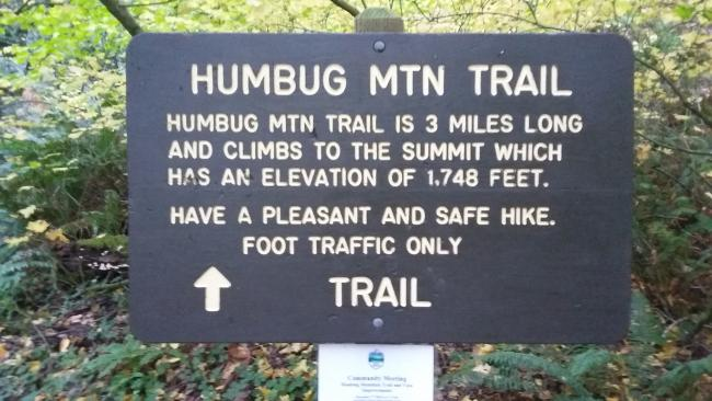 Humbug Mountain trail sign