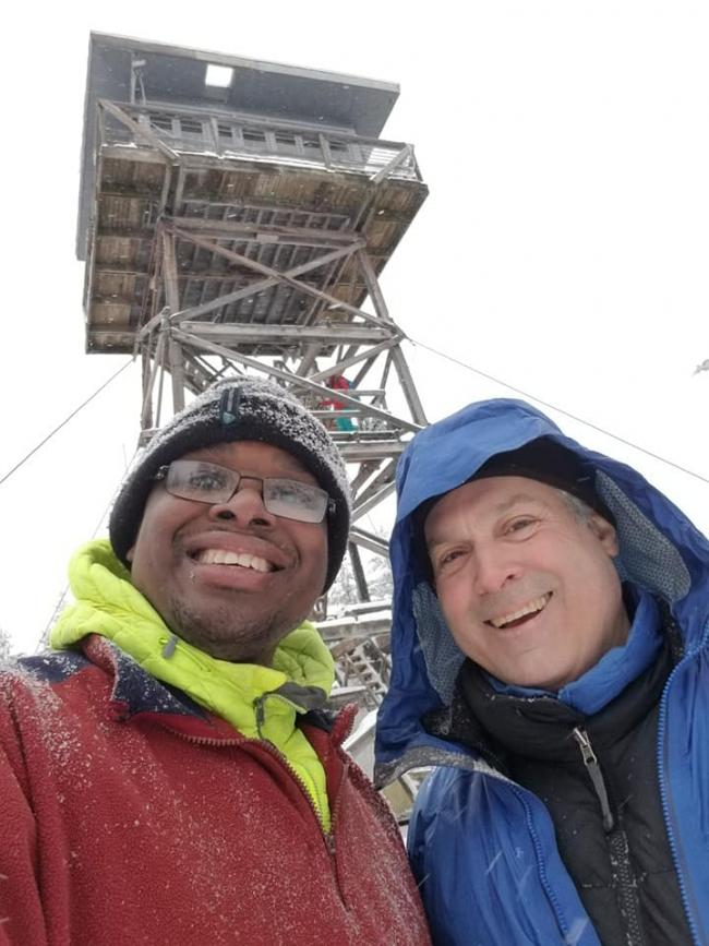 Roland-K7FOP and Etienn-K7ATN at Clear Lake Fire Lookout