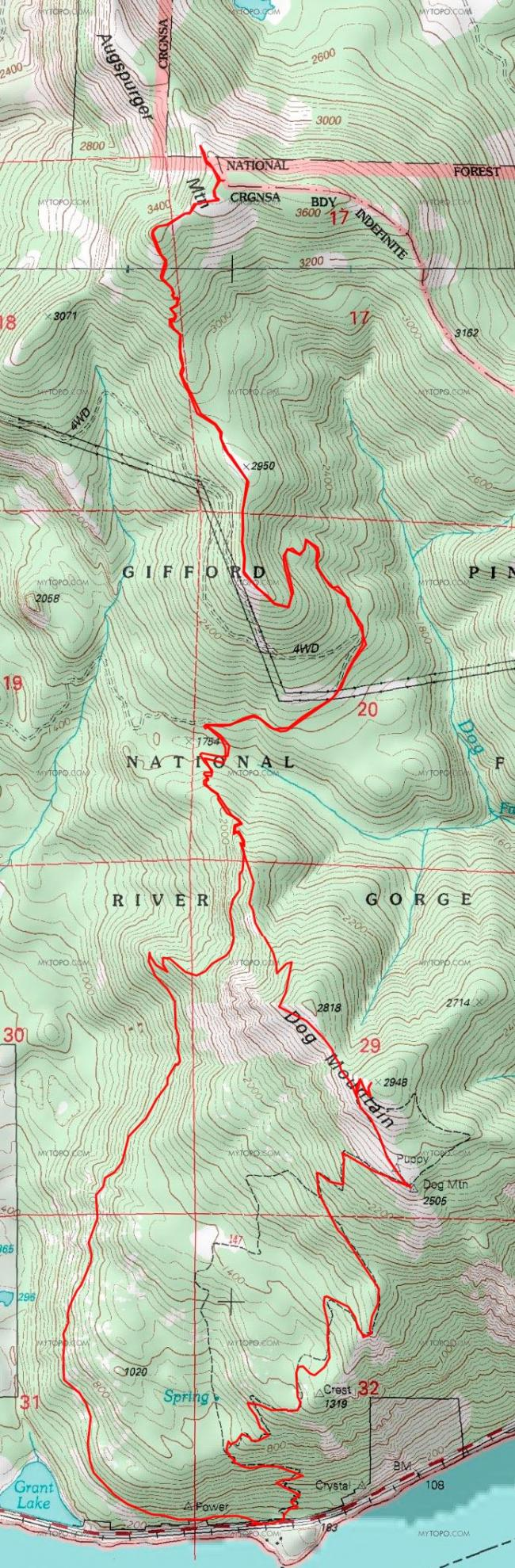 Augspurger Mtn Map - note Dog Mountain Trail is included