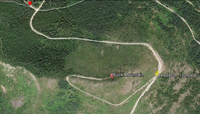 Buck Mtn trailhead is pushpin - Coffin Mtn trailhead is red dot.