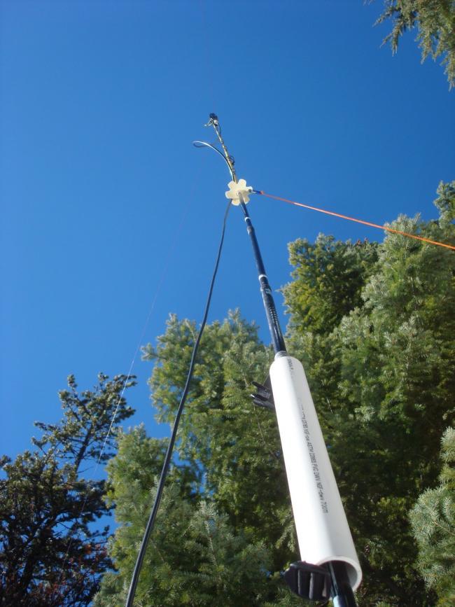 Ski pole antenna mast for a 20m dipole