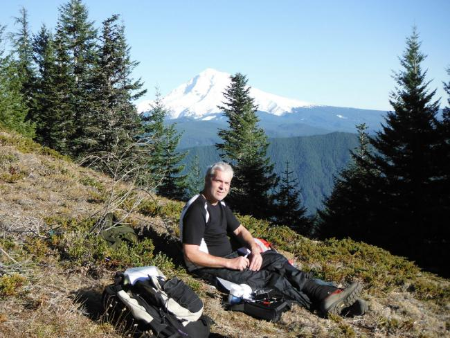 Operating with a view of Mount Hood