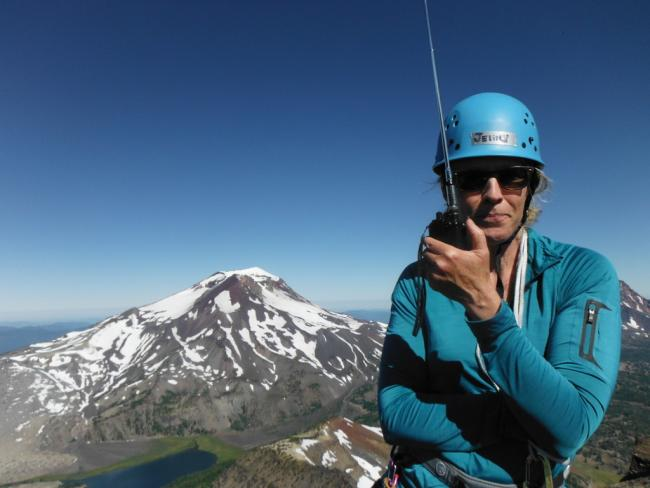 K7GEN works 2m from the summit (South Sister in background)