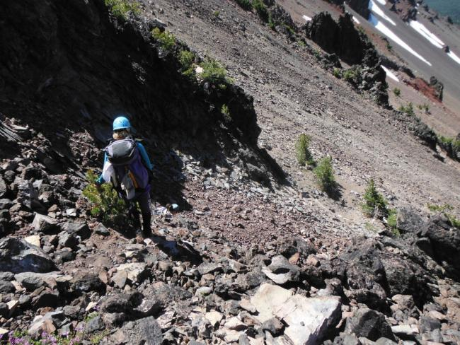 Scree descent from the ridge