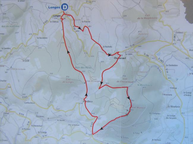 Trail map for Mont Monnet, including Longes