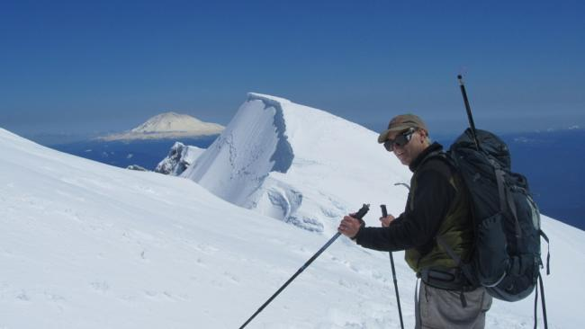 Usual climbers summit - Mount St. Helens - Mt. Adams behind