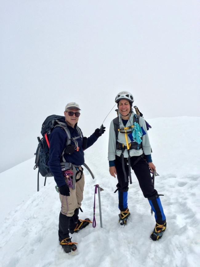 On the summit - radio in hand