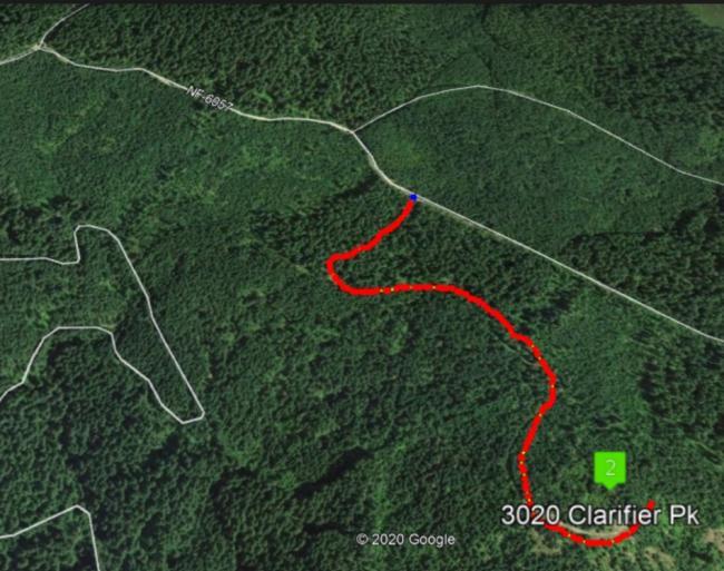 Last road marked to Peak 3020