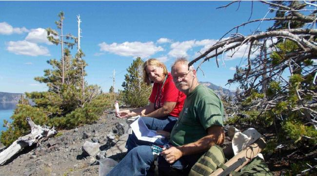 Paula and Mike on the caldera rim