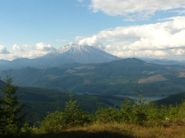 View of Mt. St. Helens from about a mile in