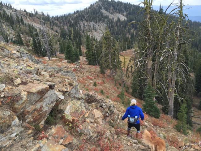 Starting back down from the summit.  Brundage ski area in the distance.