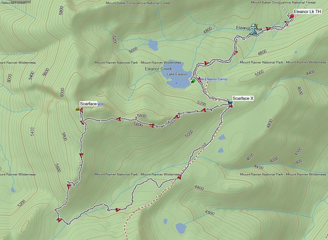 Scarface in Mt Rainier National Park, Garmin Trail Map
