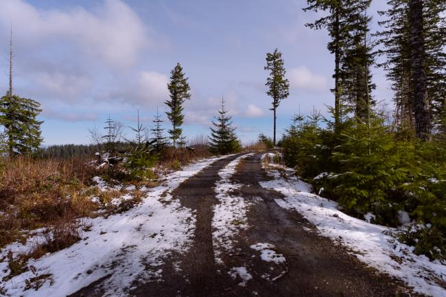 Road to summit with some snow