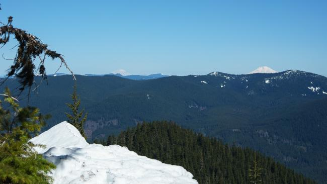 View of Mt Rainier and Mt Adams from ridgeline
