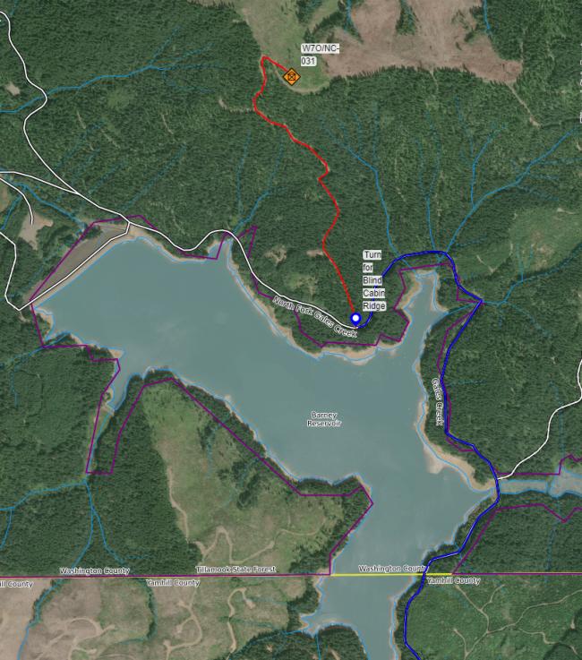 Map to Blind Cabin Ridge