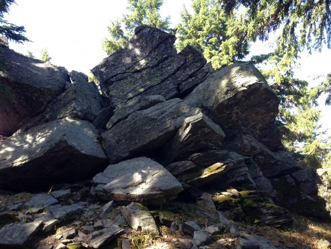 Rock on smaller, first summit