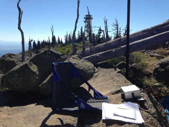 Warm sunny hamshack on the summit