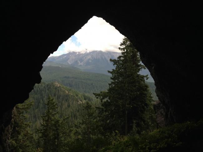 Mt Jeffferson from inside of Boca Cave