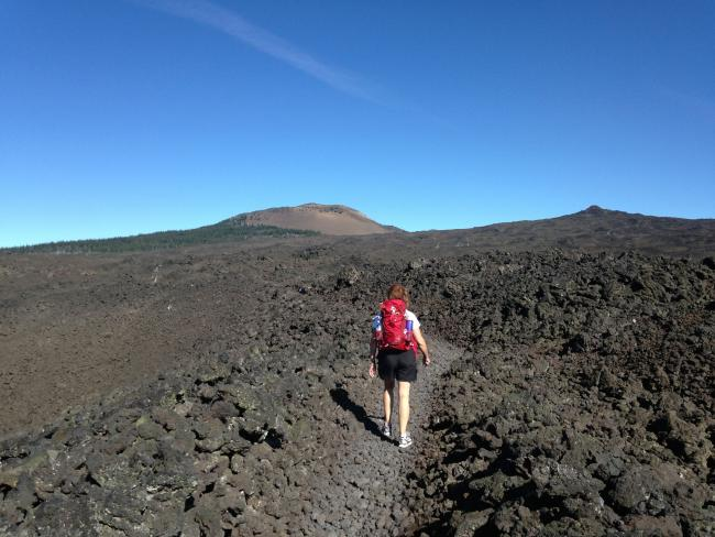 Most of the trail goes through a lava field, so you can't miss it!
