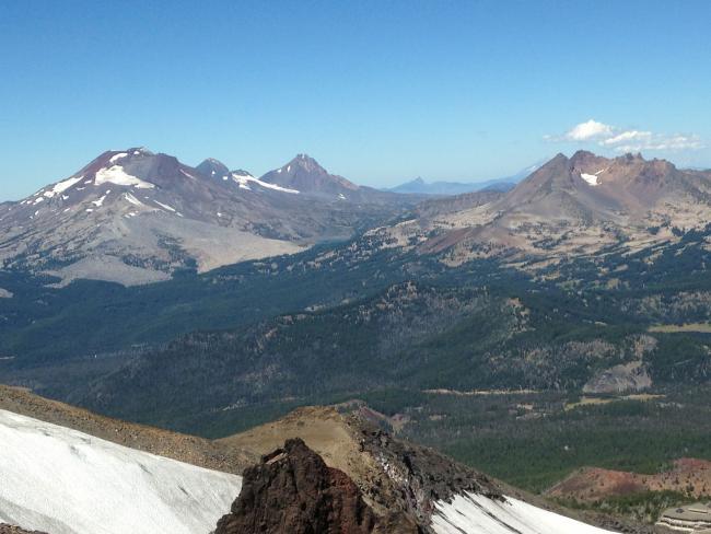 Sisters, Broken Top, Mt. Washington while ascending