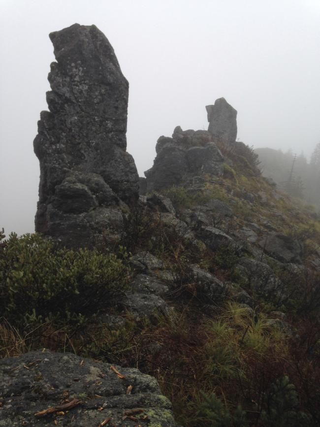 Two of three rock pillars on Buck Mtn summit, inverted L supported by closest on