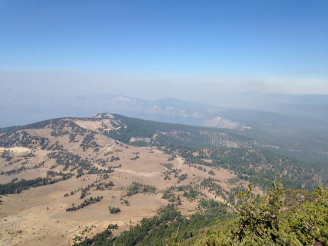 View towards Crater Lake from summit on a smoky day