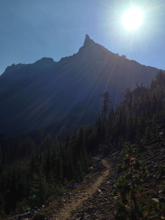 morning view of summit from PCT junction with Mt. Thielsen trail