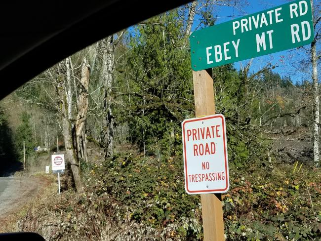 Signs at Ebey Mt Rd
