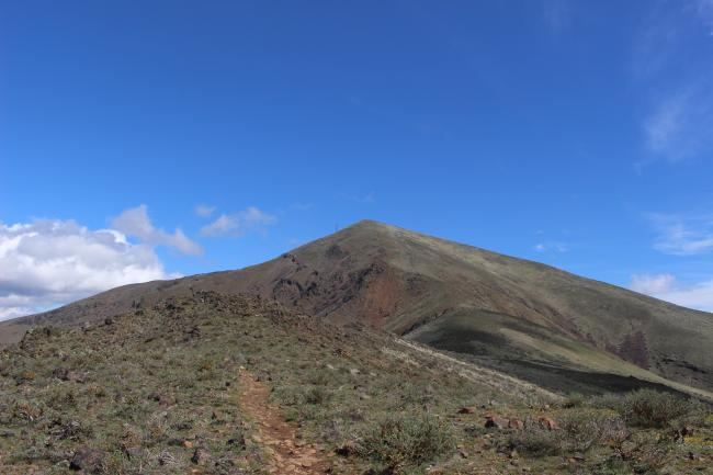 Halfway up trail, looking east toward summit