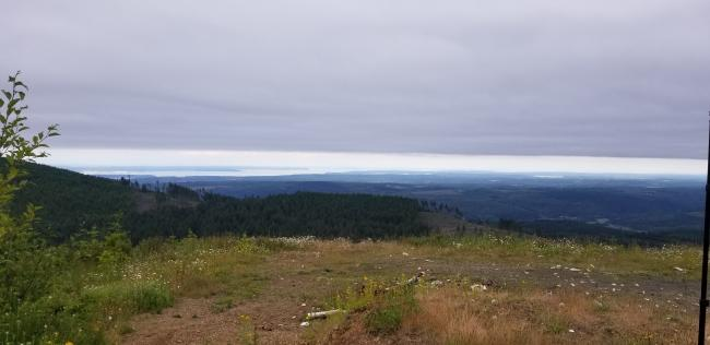 end of road on South side of summit, view looking SE toward Seattle