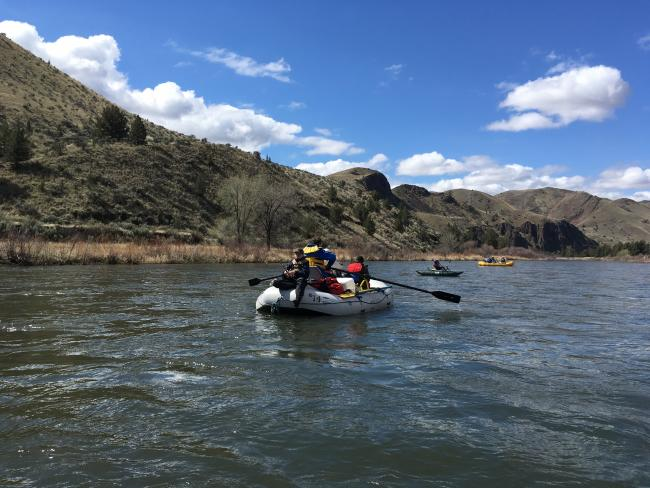 Rafting down the John Day River, Central Oregon